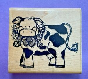 DOTS Rubber Stamp Buttercup R121 Dairy Cow Bow Cattle Flowers Animal Farm