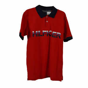 Tommy Hilfiger Boy's Short Sleeve Graphic Polo Red Navy Blue Size Large