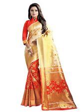 Indian Women's Designer Banarasi Woven Silk Saree With Blouse Piece_Floral Red