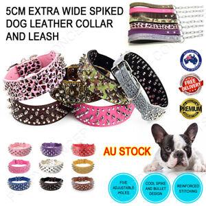 Leather Collar Extra Wide Spike Spiked Rivet Stud Studded Large Pet Dog 5cm