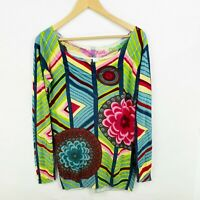 Desigual Womens Size XL Long Sleeve Boat Neck Lightweight Sweater Multi-Color