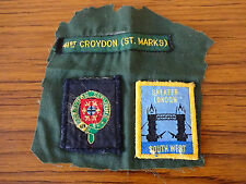 C1990s 3 Cloth Scout Badges on Material: 41st Croydon (St. Marks)