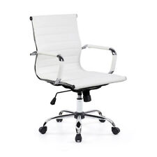 WHITE SWIVEL CHAIR HOME OFFICE FURNITURE/COMPUTER PC DESK COSY PU LEATHER M-BACK
