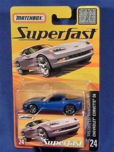 2005 Matchbox Superfast #24, Chevrolet Corvette C6, Blue, 1 of 8,000 MOC!  F9