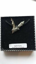 C19 Long-Eared Bat Motif Pewter  PENDENT ON A BLACK CORD  Necklace Handmade