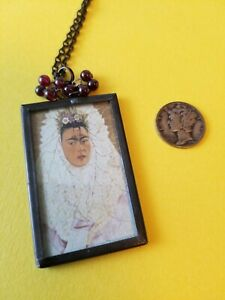 Frida Kahlo Soldered Glass And Garnet Pendant Necklace