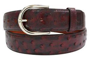Genuine Handmade Full-Quill Black Cherry Ostrich Leather Belt (Made in U.S.A)