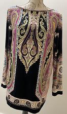 ETRO Black/ Multicoloured Paisley Long Sleeves Jersey Long Top IT44 UK14 BNWT
