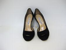 Manolo Blahnik Black Suede Open Toe Stiletto Heels Size 37.5