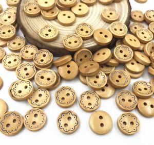 100pcs Wooden Brown Flowers pattern Round 2-holes  Handicrafts Scrapbooking 13mm