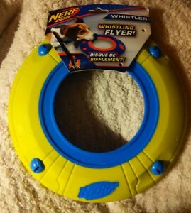 NERF DOG WHISTLING FLYER * Atomic Howler Whistler * Yellow + Blue Toy Disc * NEW