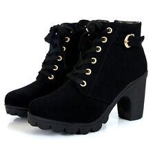 Women platform high heel single shoes vintage Motorcycle Martin shoes Black EU40