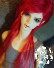 """7-8"""" 18-19cm BJD doll fabric fur wig Red Extended hair for 1/4 bjd dolls"""
