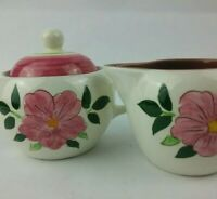 Vintage STANGL Pottery WILD ROSE Creamer and Sugar Bowl with Lid