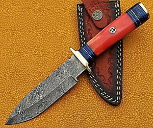 "10"" Handmade Forged Damascus Steel Hunting Knife BONE Handle W/ Leather Sheath"