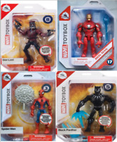 "DISNEY MARVEL TOY BOX 5"" ACTION FIGURES, SPIDERMAN, IRON MAN, STAR LORD, BLACK P"