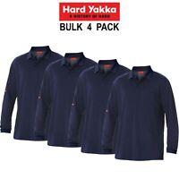 Mens Hard Yakka 4 Pack Work Shirt Cotton Pique Polo Business Long Sleeve Y11307