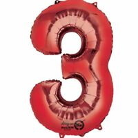 """34"""" 86cm Red Giant Foil Number 3 Numeral Helium Balloons Birthday Age Date"""
