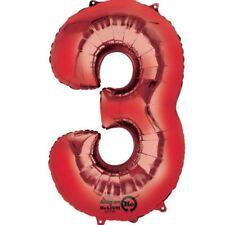 86.4cm 86cm Rojo Gigante METALIZADO Número 3 globos de Helio Cumpleaños Edad