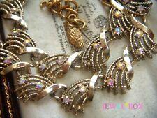 VINTAGE Golden Panels Twinkling AURORA BOREALIS CRYSTAL RHINESTONE NECKLACE