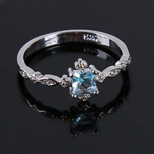 Blue Faux Diamond Crystal Womens Topaz Zircon Slim Rings Engagement G