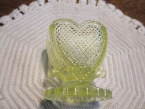 BOYD ART GLASS BEADED HEART TOOTHPICK HOLDER SUNSHINE #88 VASELINE