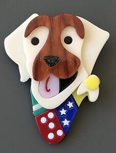 Unique  Labrador  Dog large  Brooch Pin In acrylic