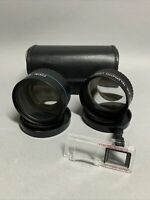 MInolta HI-MATIC AF-2 Focal Aux Tele & Wide Angle Lenses w/ Case 35mm