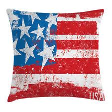 American Flag Throw Pillow Case Retro Royal Art Square Cushion Cover 16 Inches