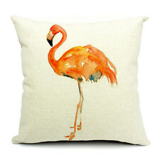 Vintage Linen Cotton Couch Sofa Cushion Cover Throw Pillow flamingo 45X 45 cm