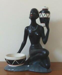 Vintage Mid Century Chalkware Lamp Table Lamp Lighting Tribal, African Art