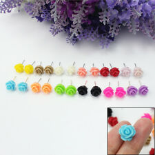 12 Pairs Women Girls Delicate Charming Resin Rose Flower Jewellery Stud Earrings