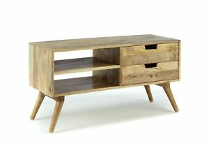 Retro 2 drawer solid hard wood tv video stand entertainment unit