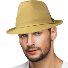 Men's All Season Cotton Short Brim Derby Fedora Classic Gangster Hat