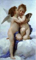 Oil painting Bouguereau - Cupid and Psyche as Children little angel lovers 36""