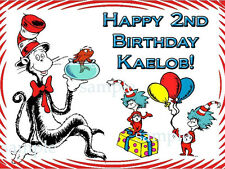 CAT in the HAT Edible Birthday CAKE Image Icing Topper Party Supply