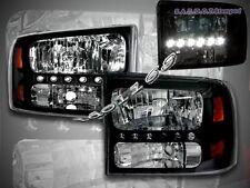 99-04 F250 F350 SUPERDUTY 00-05 EXCURSION LED HEADLIGHTS CORNER BLACK