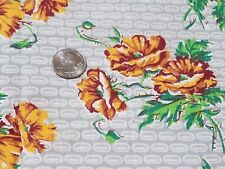 Vintage Feedsack Fabric: Yellow, Brown  Flowers on Gray and White 33x36 in.