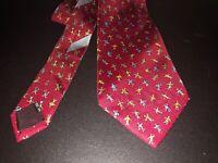 Salvatore Ferragamo 100% Silk Italian Tie Children Playing Red Necktie 60 Inch