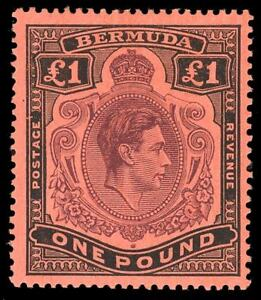 Bermuda 1943 KGVI £1 Row 1/1 SHADING OMITTED FROM TOP RIGHT SCROLL mlh. SG 121cb