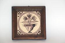 Antique Dutch Tile in frame-Mangane-19th century--Flower motive