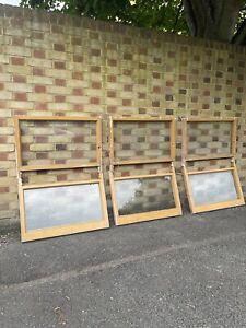Reclaimed Old Victorian Panel Wooden Sash Windows Three pairs Job Lot