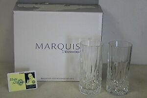 Set of 6 Waterford Marquis Crystal Brookside Highball Glasses Tumblers