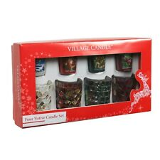 Village Candle Votive Christmas Gift Set 4 Mosaic holders & Candles  23667