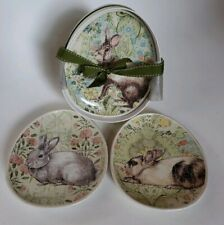 """4 Pottery Barn Floral Bunny Rabbit Oval Egg Shaped 8.5"""" Plates New in Box"""