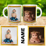 PERSONALISED MUG 2 PHOTO ADD NAME TEXT CUSTOM DESIGN GIFT TEA COFFEE CUP