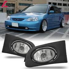 For Honda Civic 01-03 Clear Lens Pair Bumper Fog Light Lamp+Wiring+Switch Kit