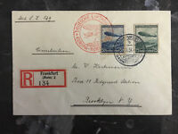 1936 Bahnpost Germany Hindenburg Zeppelin LZ 129 first flight cover to USA FFC