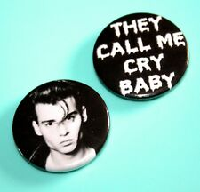 X2 CRY BABY JOHNNY DEPP JOHN WATERS FILM BUTTON PIN BADGES