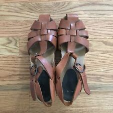 Vintage Women's size 7.5 Wooden Leather Strapped Clogs 70's